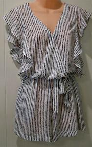 """Lulu & Rose"" White & black playsuit - polka dot design - sleeveless - Size M"