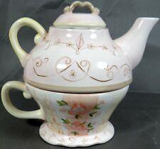 Tracy Porter Tea For One Teapot Cup Pot Mint Peach Rose Flower Design Mint