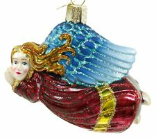 Glass Red Blue Gold Angel OWC Glitter Christmas Ornament Holiday Decoration