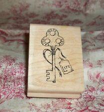 Key Of Life Rubber Stamp w/ Faith Hope Love On Vtg Skeleton Key Never Used Craft