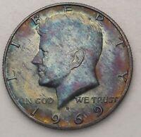 HIGH GRADE 1969 D USA SILVER KENNEDY HALF DOLLAR SET COLOR TONED (DR)