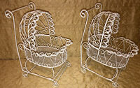 Vintage Metal Ornate White Doll Stroller Baby Buggy Carriage Lot Of 2