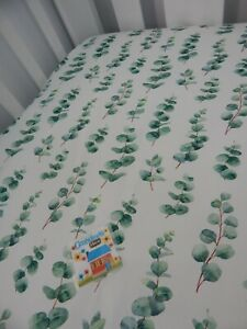 Cot Sheet Fitted Eucalyptus Leaves Pure Cotton Fits to 70 x 130cm mattress