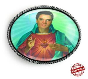 Elvis Christ Sacred Heart Handmade Artisan Rockabilly Belt Buckle
