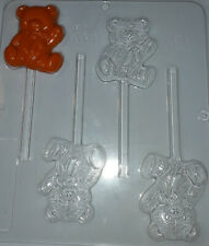 TEDDY BEAR WAVING CHOCOLATE LOLLIPOP MOULD  4 CAVITY