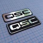 2 x QSC- Aluminium Metallic Logo Sticker - 2.75 inch by 1 inch - 70 mm / 25 mm