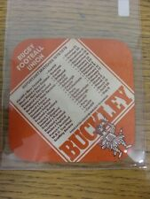 1978/1979 Rugby Union: Buckley Beer Mat - 'Buckley', On Reverse Rugby Football U