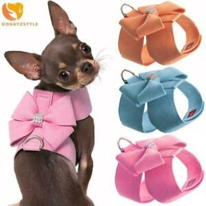 Pet Dog Harness Leash Bow Bling Rhinestone Suede Leather Puppy Cat Vest Harness