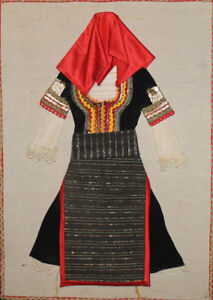 Vintage hand made embroidery cloth collage woman folk dress costume