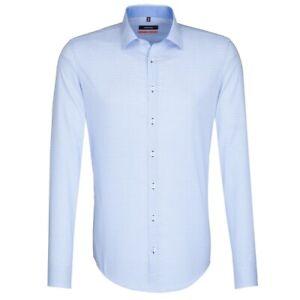 Seidensticker Herren Langarm Business Hemd SLIM Kent blau weiß Kariert 676126.13