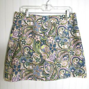 Athleta Skort Multicolor Floral Paisley Print Size 10 Casual Golf Tennis Sports