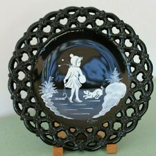 """Mary Gregory Style 11"""" BLACK GLASS PLATE with Deer//Stag ~ Set of 4"""