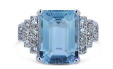 Aquamarine and Diamond Platinum Ring 0.40ct + 6ct Aquamarine