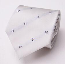 New $225 BORRELLI NAPOLI 7-Fold Silk Tie Ivory White w/ Blue-Orange Squares