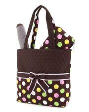 Belvah quilted polka dots 3 piece baby diaper bag LPDQ1103L(BRMT) BS795