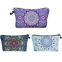 Women Mandala Floral Print Make up Bag Cosmetics Pouch Wash Bag Zip Pencil Case