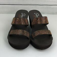 Skechers Premium Yoga Foam Open Toe Brown Wedge Sandal Shoes Size 7 A0400
