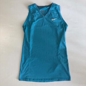 Nike Women's Tank Top Pro Combat Dri-Fit Sky Blue V Neck Sleeveless Tank Top S