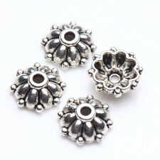100 Tibet Silver Flower Loose Spacer Bead Caps Jewelry Finding Craft DIY 8x3mm