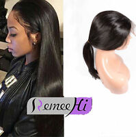 Virgin Human Hair Natural Pre Plucked Peruvian 360 Lace Frontal Band Wig Cap