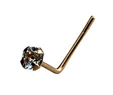Blauer Topas Gold Nasenstecker 9k Gelb 2mm Edelstein 22g (0.6mm) L Gebogen Stud