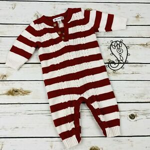 Cherokee One Piece Long Romper Red Striped Size 3-6 Months Sweater