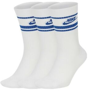 Nike Large 8-12 Crew Socks 3 pack old School Vintage Looking white Blue Swoosh
