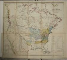 UNITED STATES AMERICAN NATIVE LANDS 1844 BOWDEN UNUSUAL ANTIQUE LITHOGRAPHIC MAP