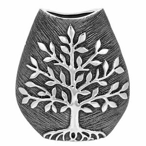 Tree of Life Small Wide Vase - Gunmetal Modern Contemporary
