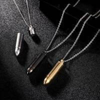 1Pc Exquisite Men Bullet Shape Cylinder Pendant Necklace Stainless Steel Jewelry