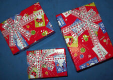 3 SMALL CHRISTMAS PRINT GIFT BOX WITH RIBBON AND BOW - new in original package