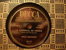 MILLS BROTHERS - A Carnival In Venice / Go In and Out the Window    DECCA 78rpm