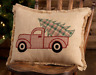 CLEMENT Applique Red Pickup Truck Accent Pillow Christmas Tree plaid- VHC Brands