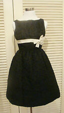 50s VINTAGE BLACK TEXTURED NYLON PARTY DRESS WITH RIBBON BOW BANDS XS