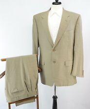 CANALI Italy Light Brown Check Wool 2 Button Dual Vent Suit 54L EU 42L US