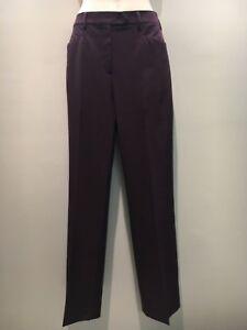 Prada Grape Poly Blend Straight Leg Stretch Dress Work Pants Size 44 Fit 10 12