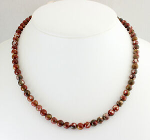 Pop Jasper Chain Gemstone Necklace Natural from Mexico Ball ca.45 CM