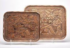 Bandejas de dragón de madera tallada China graduada temprano 20TH C.