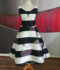 "GORGEOUS COAST ""ALPINA"" MONO STRIPE BLACK WHITE WHITE EVENING DRESS SIZE 14"