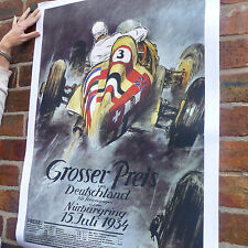 Nurburgring 1934 Grosser Preis Vintage Póster De COCHE Coche Racing Motorsport-A4