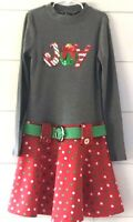 Girls Pink & Violet Holiday Christmas Dress Red Gray Green Joy Large 10 / 12