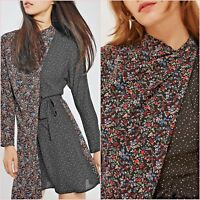 Topshop PETITE Black Floral Polka Dot Long Sleeve Dress Size 4 US 0 Blogger ❤