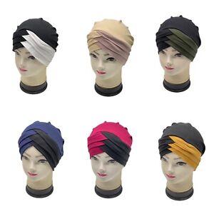 2 Tone Under Hat Frontal Cross Bonnet Hijab Turban Chemo Cap Head Scarf