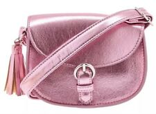 New Claire's Cute Metallic Pink Cross Body Bag Purse With Tassel Accent New!