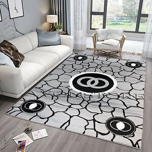 New Luxurious Modern Glitter Rug Soft Shiny Grey Black Large Runner Rugs Carpets