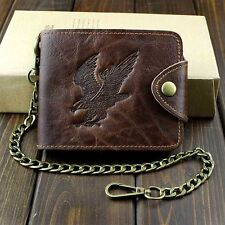 Western Biker Trucker Leather Bifold Snap Wallet With Chain for Mens or Boys Bw2