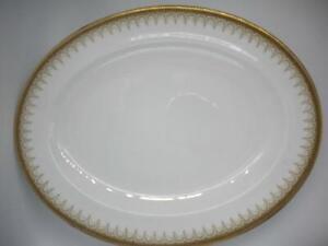 "PARAGON ATHENA Medium Oval 13.75"" PLATTER (Gold Border with Black Dots)"