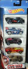 Hot Wheels MARVEL Captain America CIVIL WAR ~ 5-Pack Die-Cast Cars AVENGERS Set