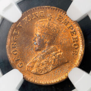 1912, India (British), George V. Stunning Copper 1/12 Anna Coin. NGC MS-65 RB!