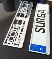 2 x Kennzeichenhalter, Nummernschildhalter, Kennzeichenrahmen Silber Voll Chrome